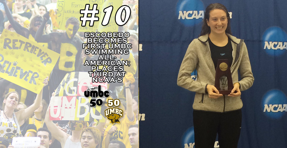 #retriever50for50- Escobedo Becomes First UMBC Swimming All-American; Places Third at NCAA's