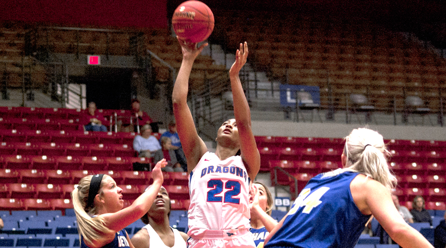 Dejanae Roebuck hits a career-high five 3s and scores a career-best 28 points in No. 13 Hutchinson's 84-53 win over the Washburn JV on Wednesday in Topeka. (Bre Rogers/Blue Dragon Sports Information)