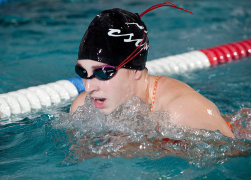 Jamie Bugel placed second in the 200 breaststroke and with the medley relay on Saturday<BR>