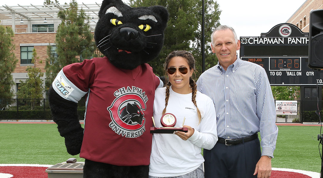 Award-winner Mary Welton with Pete the Panther and Terry Boesel.