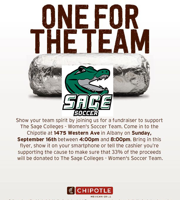 Join Sage's Women's Soccer Team for a Fund Raiser at Chipolte on September 16