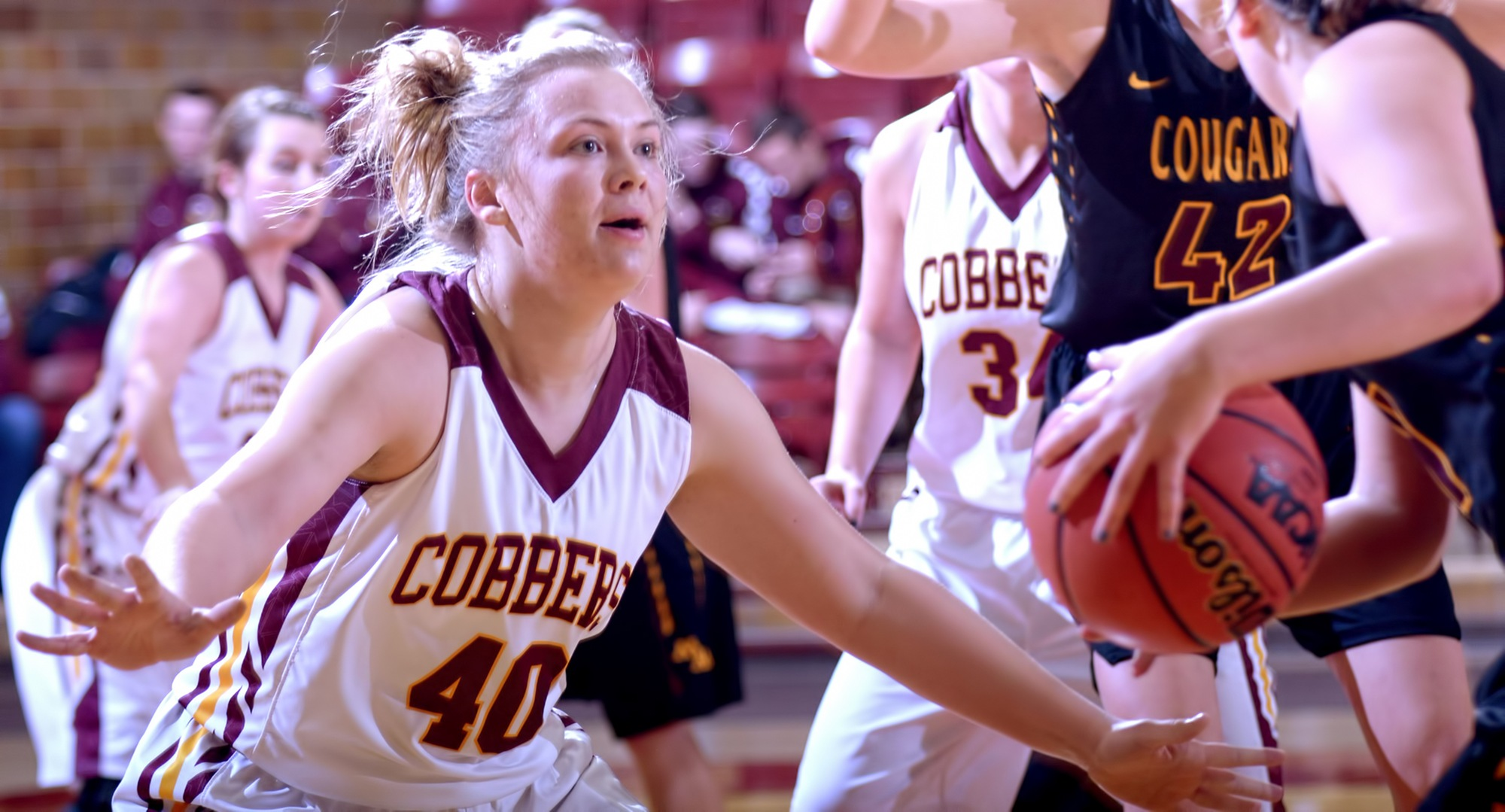 Mira Ellefson scored a career-high 16 points in the Cobbers' game against Chapman.