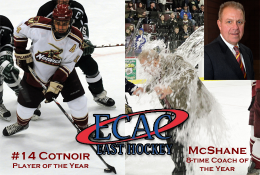 Men's Hockey: Cotnoir named Player of the Year, five other Cadets honored with ECAC East season awards