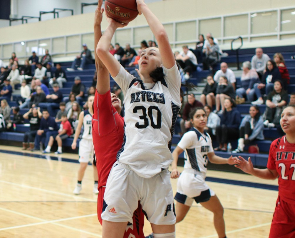 Sophomore Hallie Lawson (Campo Verde HS) finished with a double-double of 13 points and 14 rebounds as the No. 18 ranked Aztecs women's basketball team beat South Mountain Community College 57-42. The Aztecs improved to 11-4 overall and 5-3 in ACCAC conference play. Photo by Stephanie Van Latum