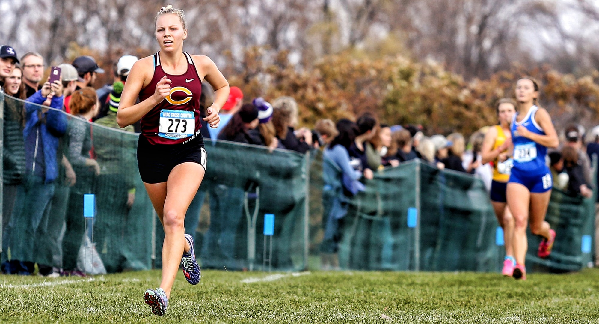 Kara Andersen nears the finish line at the MIAC Championship Meet (Picture courtesy of Nathan Lodermeier)