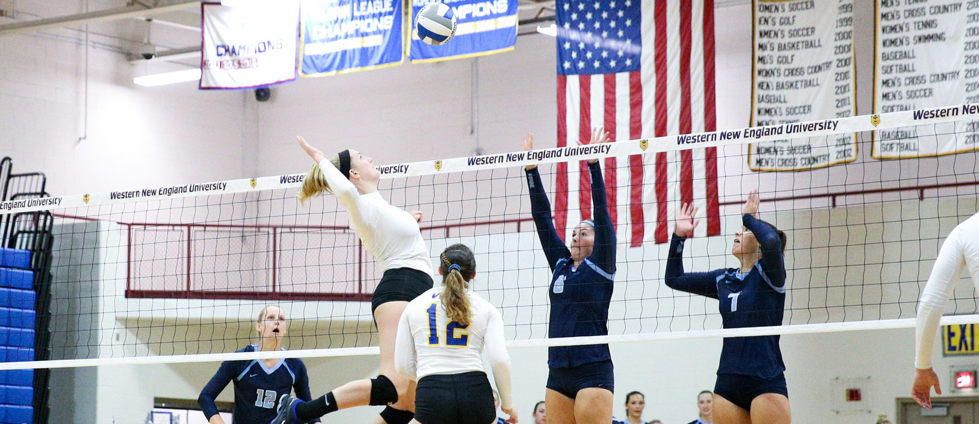 Junior Cassie Holmes recorded a team-high nine kills in Western New England's 3-0, CCC Tournament quarterfinal loss to Salve Regina on Tuesday night. (Photo by Chris Marion)