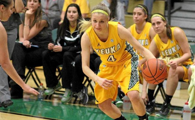 Senior Taylor Szwec set career-highs in points (21) and rebounds (18) in Keuka's 76-68 loss to Wells College Saturday afternoon (photo courtesy of Taylor Smith, Keuka College Sports Information Department).
