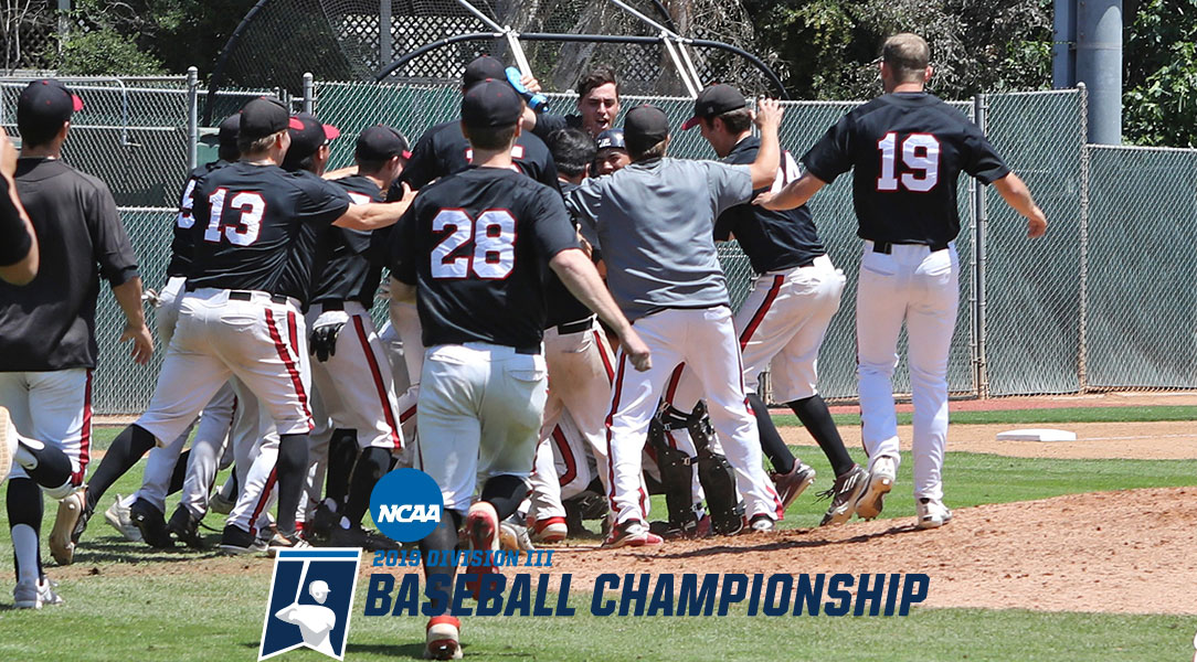 The Chapman University baseball team dogpiles after winning the SCIAC Championship.