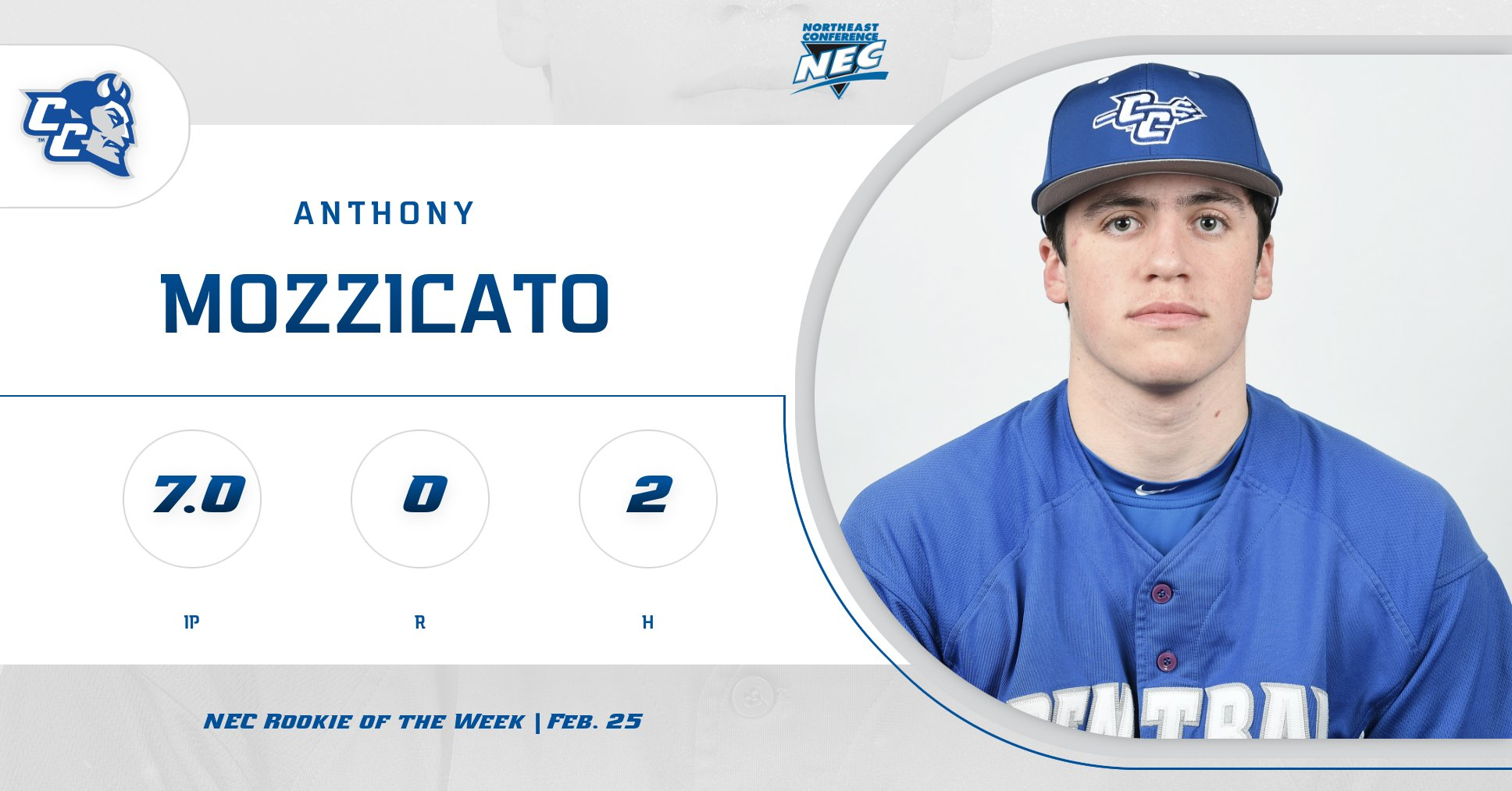 Mozzicato, Braun Recognized on NEC Weekly Baseball Honors