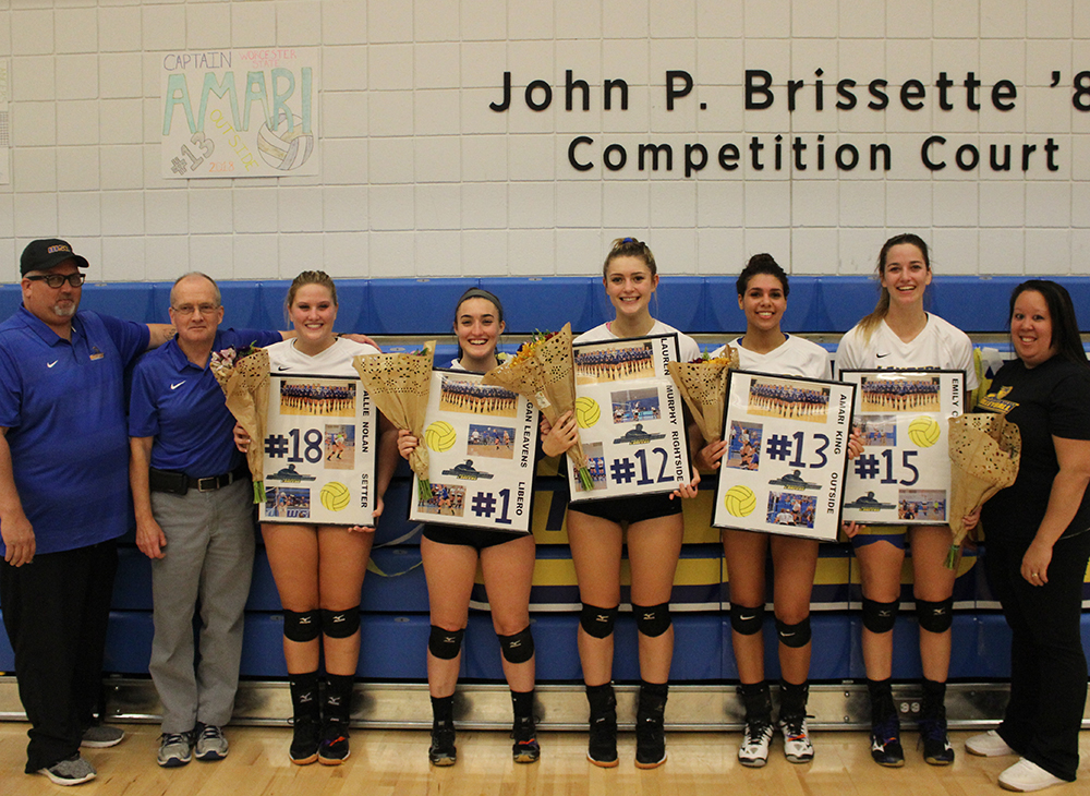 Volleyball Victorious Over Bridgewater State on Senior Night