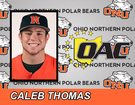 Sophomore Caleb Thomas named Ohio Athletic Conference Hitter of the Week