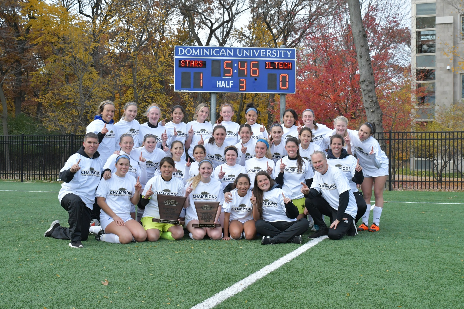Dominican won its second consecutive NACC Women's Soccer Tournament title Saturday with a 1-0 overtime win over Illinois Tech.