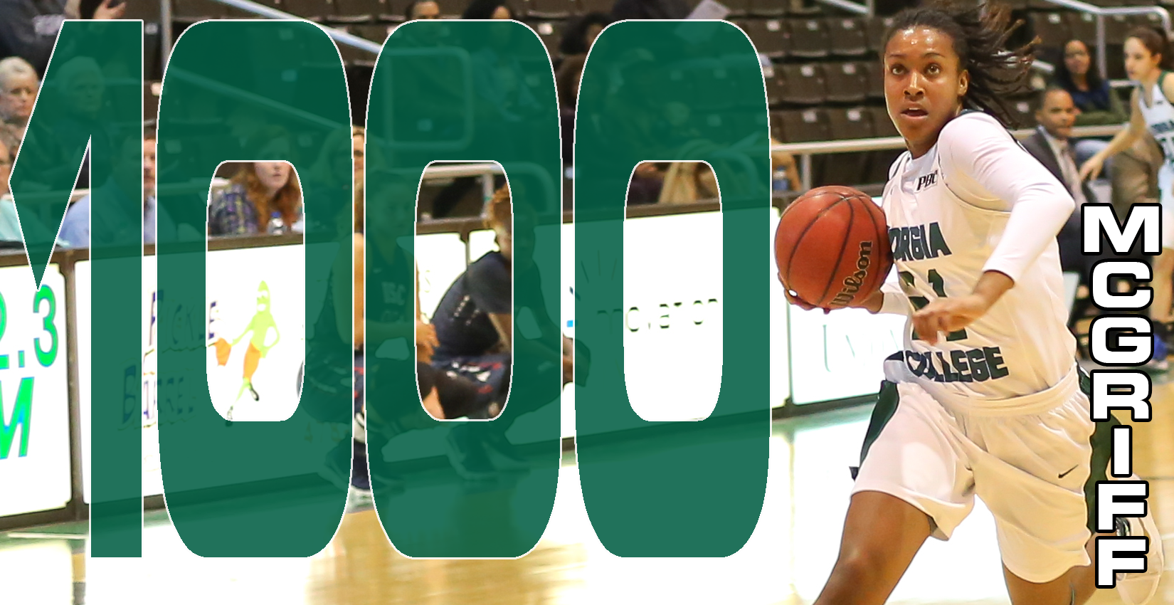 Senior forward Alyah McGriff scored her 1,000th career point at Augusta