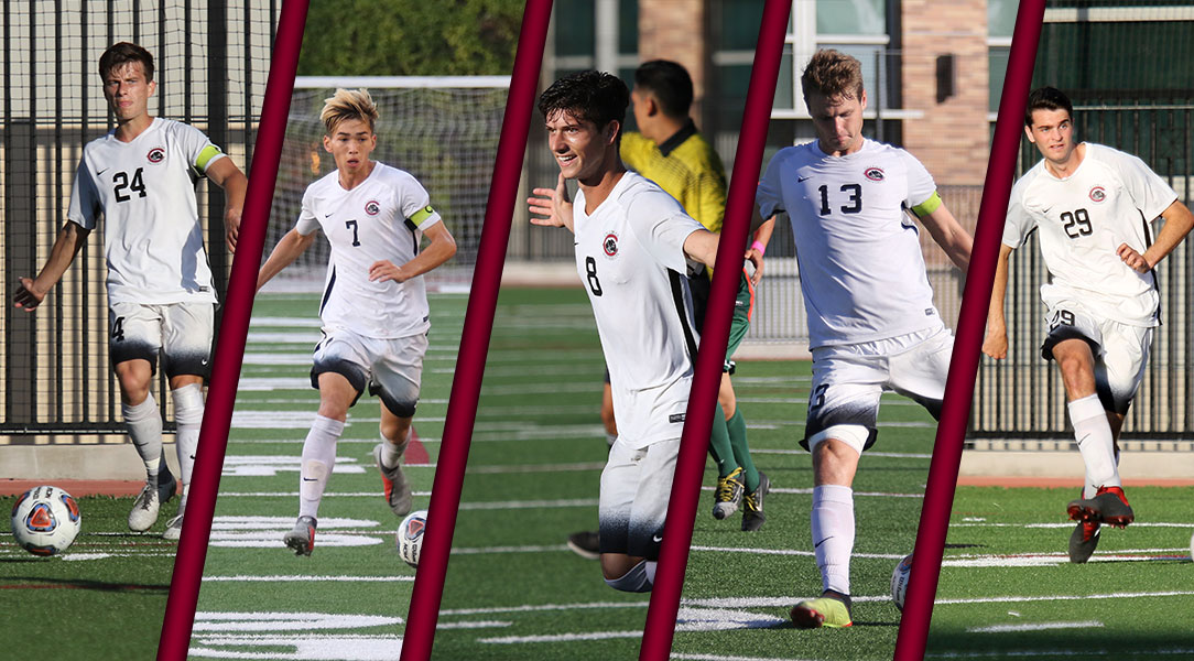 Five All-SCIAC men's soccer selections.