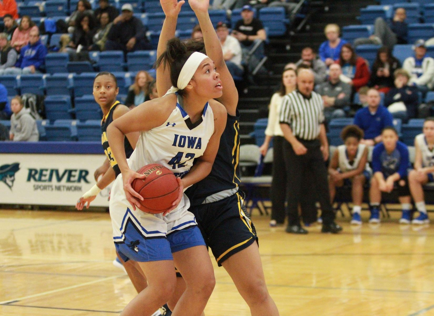 Freshman Kiara Dallmann chipped 12 points on 5 of 7 shooting and six rebounds in the win over Ellsworth Community College.