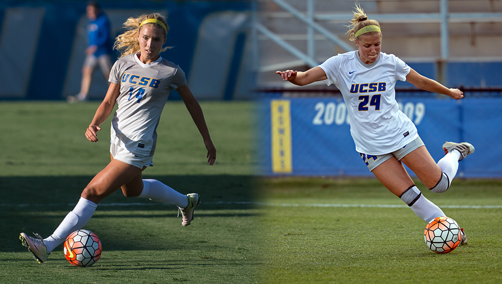 Amanda Ball (L) and Mallory Hromatko (R) were each named to the 2017 Big West Women's Soccer Preseason All-Conference Team. (Photos by Tony Mastres)
