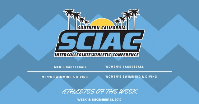 SCIAC Athletes of the Week: December 18, 2017
