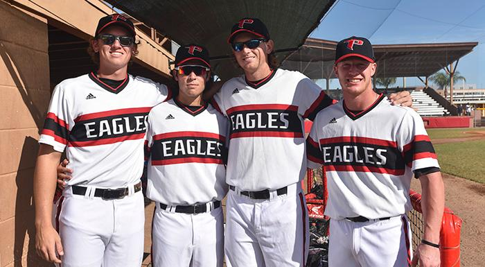 Chad Tworek, Zach Schneider, Justin Tworek, and Cole Warken were among the nine Eagles sophomores who played in the sophomore all-star game. (Photo by Tom Hagerty, Polk State.)