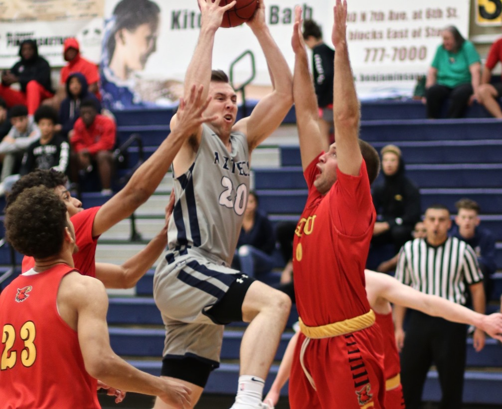 Freshman Jake Lieppert scored 19 points off the bench but the Aztecs men's basketball team fell to Cochise College 115-96 in their ACCAC conference opener. The Aztecs are 3-2 overall and 0-1 in ACCAC play. Photo by Stephanie Van Latum