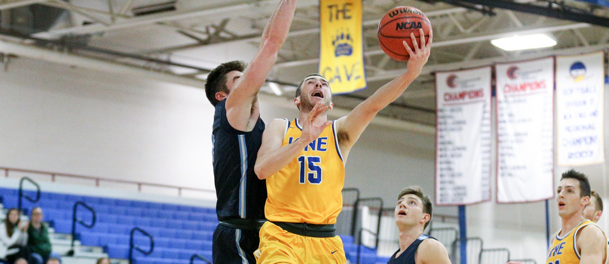 Junior Mike McGuire scored a team-high 20 points and added a career-best 11 rebounds in Western New England's 81-72 win over Southern Maine at the Trinity Holiday Invitational on Sunday night. (Photo by Chris Marion)