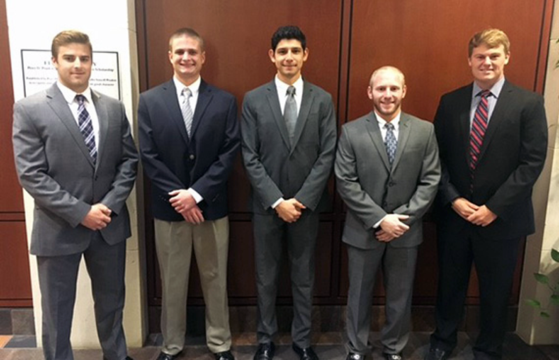 Guilford College's 2016 Economics Team (l to r): Ben Winstead, Austin Seibert, Jose Oliva, Jake Hymowitz, Mason Church.