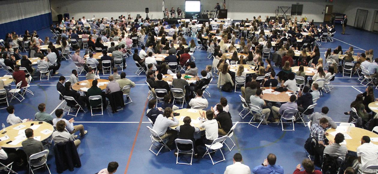 Endicott student-athletes gather for leadership programming event.