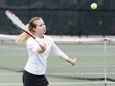 Bulldog senior Amy Ingle competes in Tuesday's NCAA Tourney match (Photo courtesy Doug Witte, GVSU Athletics)