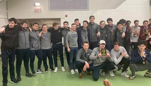 Men's fencing was third overall in the three-weapon standings (Photo courtesy Brandeis Fencing)