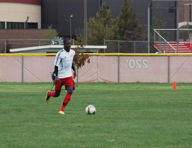 Juavanie Cole scored his first goal of the season for the Express in a 1-0 win over the College of DuPage in the Loggers Invitational Saturday. Photo courtesy of Nicholas Huenefeld/Owens Sports Information