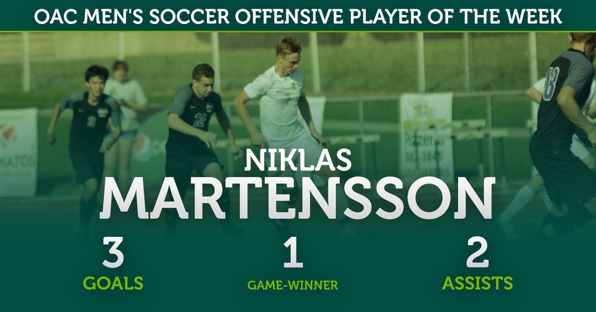Martensson Garners OAC Men's Soccer Offensive Player of the Week Honors