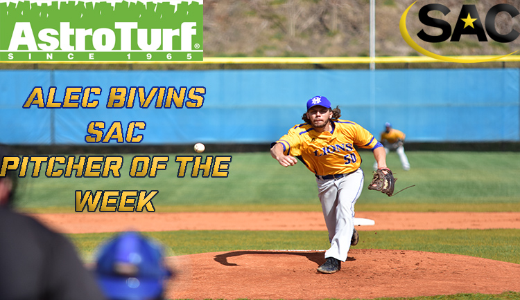 Bivins Named AstroTurf South Atlantic Conference Pitcher of the Week