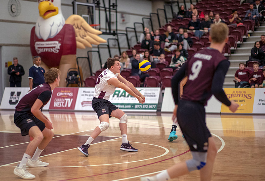 MacEwan libero David Morgan bumps a ball during matches earlier this month. Solid passing will be required this weekend if the Griffins are to have success against Thompson Rivers University (Eduardo Perez photo).