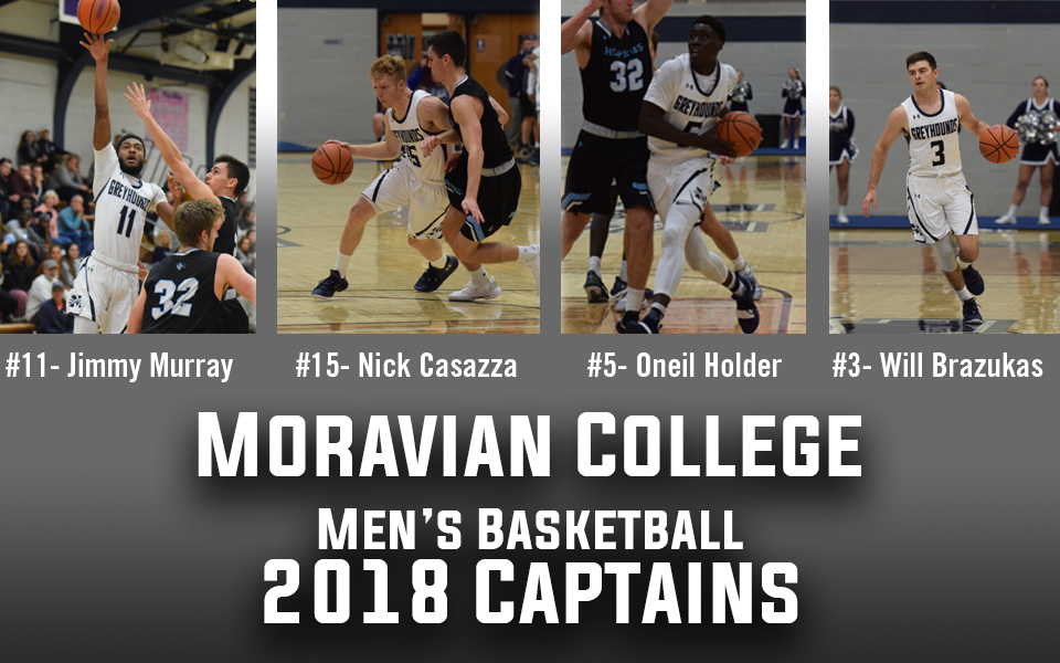 Seniors Will Brazukas, Nicholas Casazza, Oneil Holder and Jimmy Murray named as 2018=19 men's basketball captains.