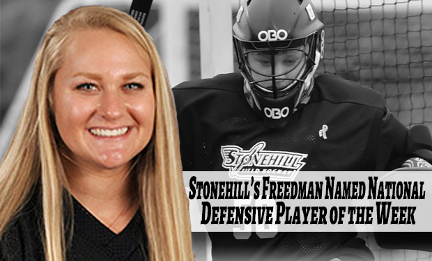 Stonehill's Freedman Named Longstreth/NFHCA Defensive Player of the Week