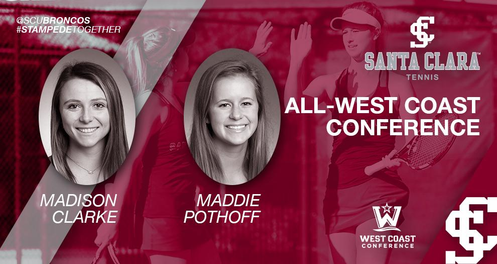 Women's Tennis – Clarke & Pothoff Recognized With All-Conference Honors
