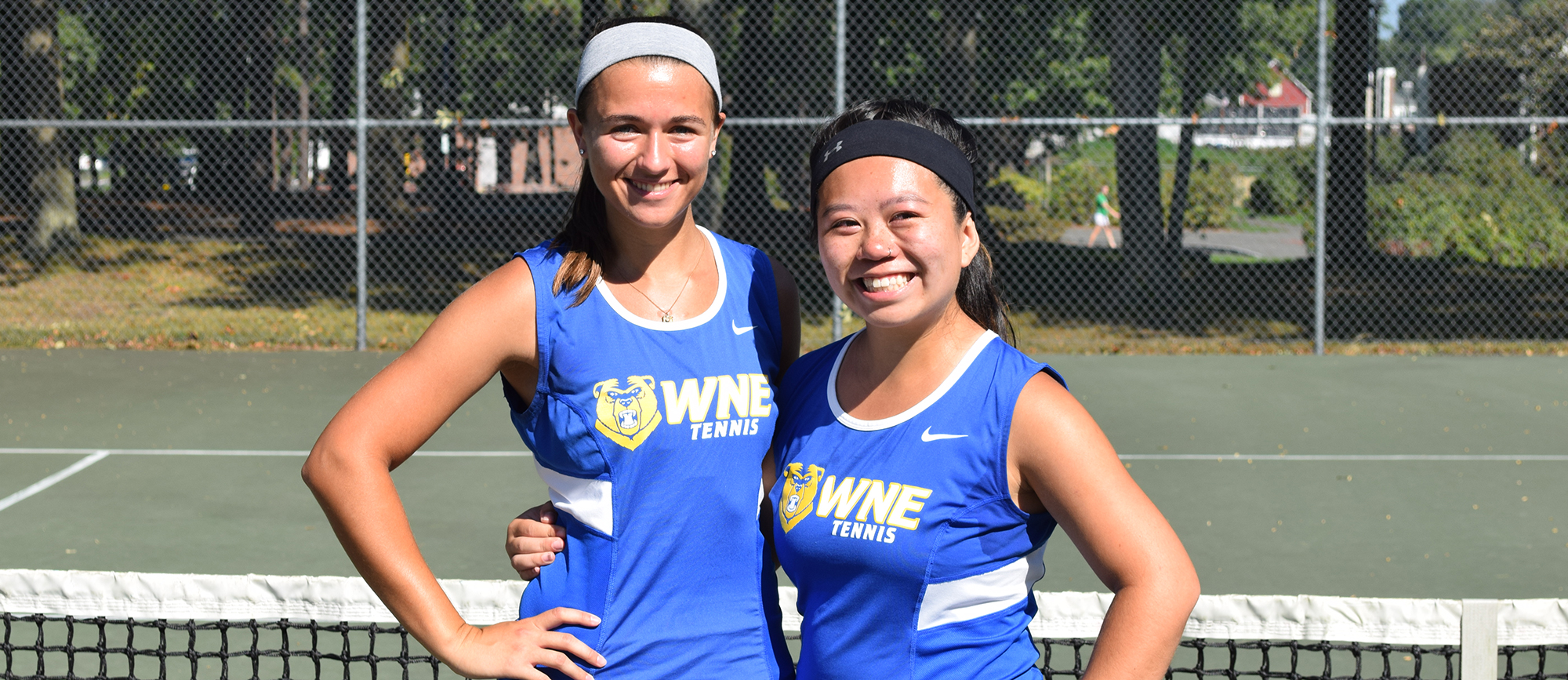 Seniors Christina D'Agostino (left) and Kim Phu (right) were honored prior to the start of Sunday's match, which the Golden Bears won 9-0.