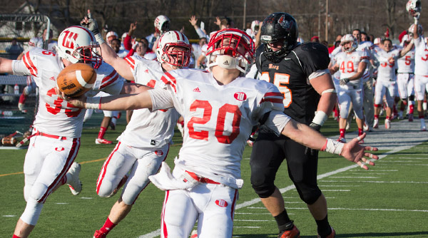 Heathy Eby celebrates after returning an interception 60 yards for a touchdown, effecitvely sealing a win against Heidelberg with 50 seconds left. Photo by David Pence