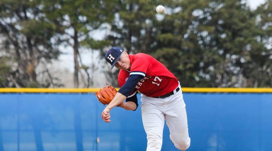 Jake Bunz strikes out a season-high 10 and tosses a two-hit shutout in an 11-0 win over Pratt in Game 1 on Friday at Stanion Field in Pratt. (Bre Rogers/Blue Dragon Sports Information)