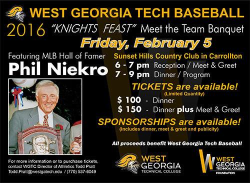 MLB Hall of Famer Phil Niekro headlines annual WGTC Baseball preseason banquet; limited number of corporate partnerships and tickets are available