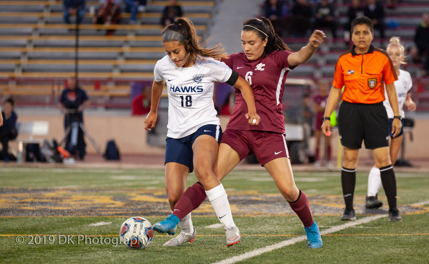 Araceli Sanchez (#6), City College  freshman fights for the ball in the match against Cosumnes River College at Hughes Stadium on Oct. 3rd.
