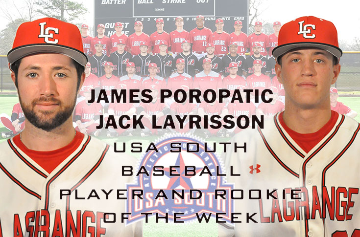 Baseball: Poropatic and Layrisson selected as USA South Player and Rookie of the Week