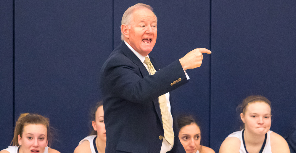 Women's Basketball Scores Coach Flahive's 100th Victory Upending Farmingdale on Alumni Day
