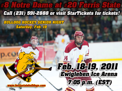 #20 Ferris State Hosts #8 Notre Dame In Regular-Season Home Finale Series