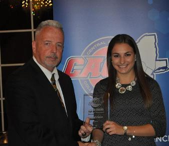 Christie Calandrillo received the 2014 CACC Women's Soccer Top XV Award from conference commissioner Dan Mara. (Ellen O'Brien)