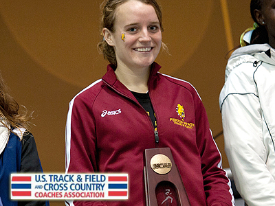 FSU's Tina Muir receives her All-America Award after the national championships (Photo by Tim Sofranko)