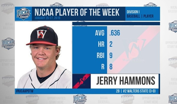 HAMMONS NAMED NJCAA NATIONAL PLAYER OF THE WEEK
