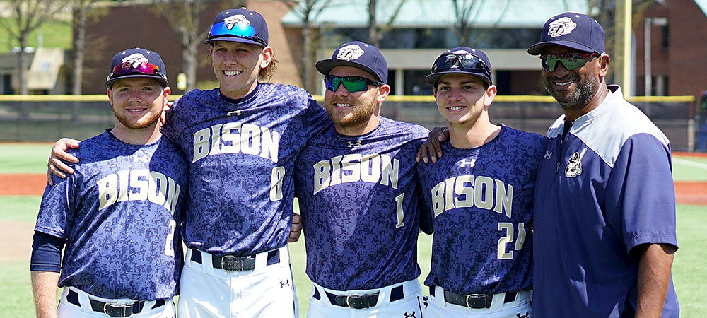Gallaudet baseball senior class pictured left to right: Kenneth Gentzke III, Dylan Hayes, Kyle Gumm, Jake Grindstaff, Head Coach Curtis Pride.