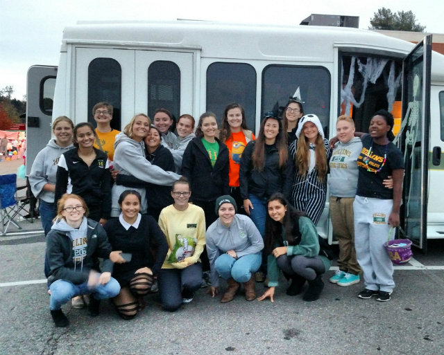 Hollins SAAC at the Trunk or Treat held at the North Roanoke Baptist Church