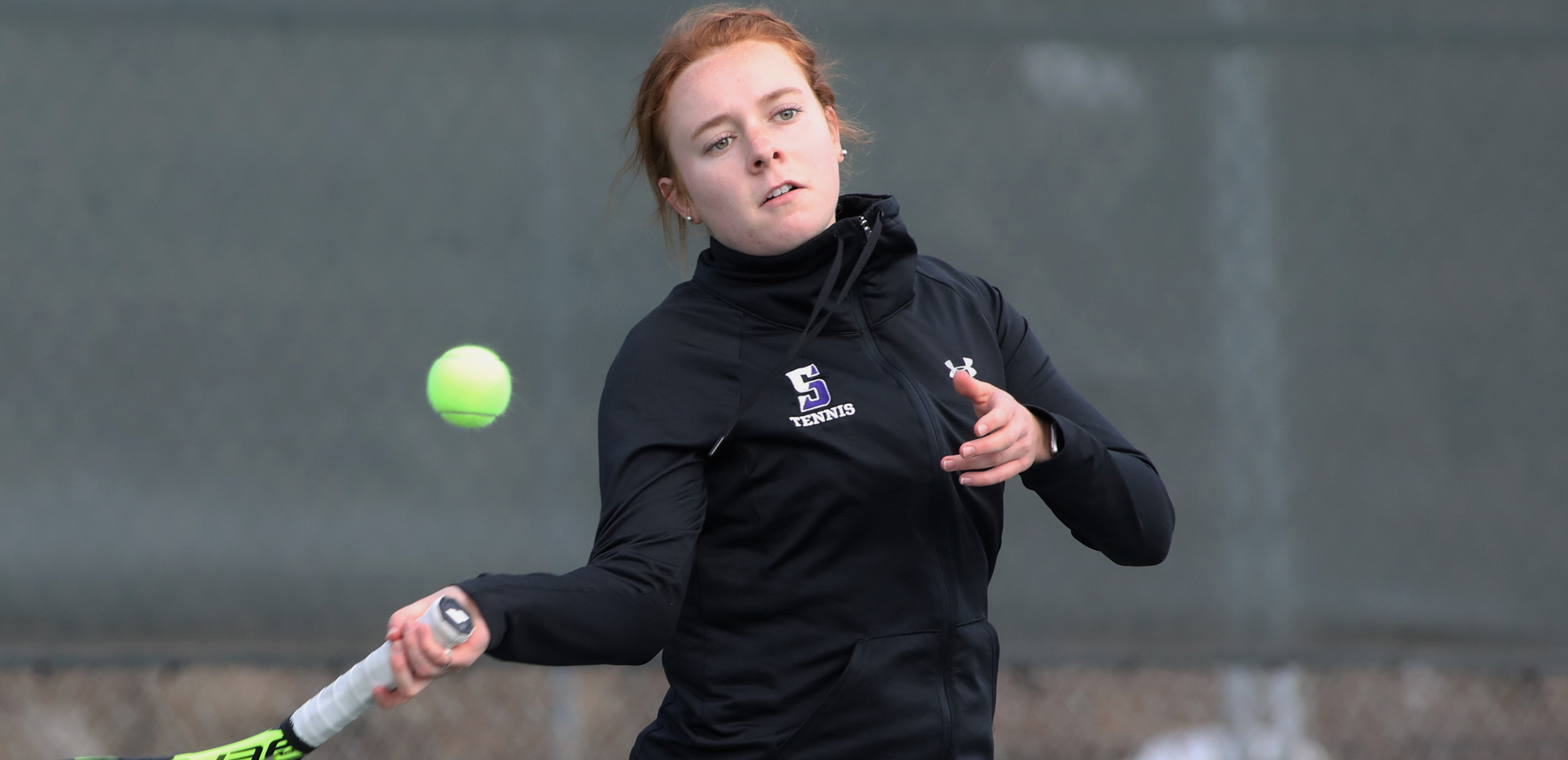 Junior Emily Kelly won at both doubles and singles to help the Royals take a 7-2 win at Elizabethtown on Sunday. © Photo by Timothy R. Dougherty / doubleeaglephotography.com