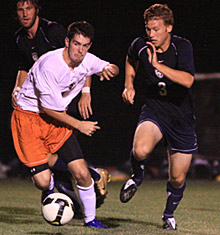 Senior Geof Pezon scored twice Wednesday night at Schlager Memorial Field, helping the Falcons to their 13th consecutive win.